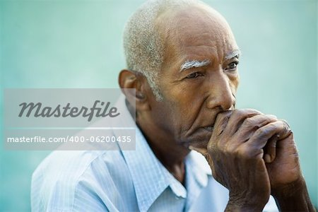 Seniors portrait of contemplative old african american man looking away. Copy space Stock Photo - Budget Royalty-Free, Image code: 400-06200435