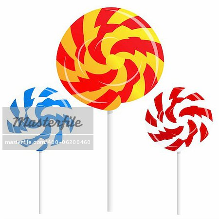 round shape lollipops on white background Also available as a Vector in Adobe illustrator EPS format, compressed in a zip file. The vector version be scaled to any size without loss of quality.