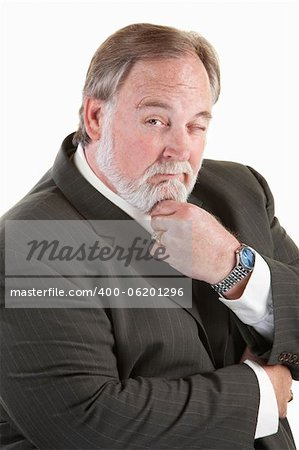 Easygoing mature man with beard over white background Stock Photo - Budget Royalty-Free, Image code: 400-06201296