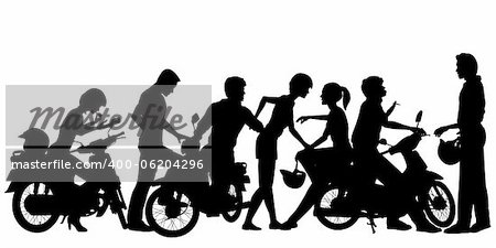 Editable vector silhouettes of a young motorcycle gang with all people and scooters as separate objects Stock Photo - Budget Royalty-Free, Image code: 400-06204296