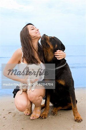 young girl and her two dogs on the beach Stock Photo - Budget Royalty-Free, Image code: 400-06204706