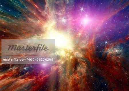 Star field in space, a nebulae and a gas congestion Stock Photo - Budget Royalty-Free, Image code: 400-06206209