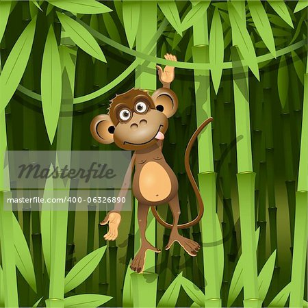 illustration, a brown monkey in the jungle Stock Photo - Budget Royalty-Free, Image code: 400-06326890