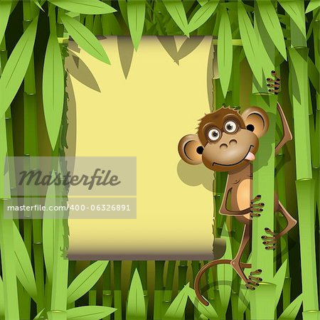illustration, a brown monkey in the jungle Stock Photo - Budget Royalty-Free, Image code: 400-06326891