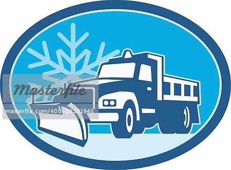Illustration of a snow plow truck plowing with winter snow flakes in background set inside circle done in retro style. Stock Photo - Budget Royalty-Free, Image code: 400-06331945