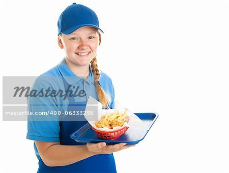 Teenage fast food worker holding a tray of chicken nuggets and fries.  Isolated on white. Stock Photo - Budget Royalty-Free, Image code: 400-06333295