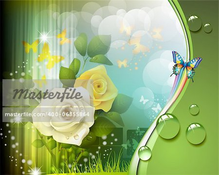 Background with roses and butterflies Stock Photo - Budget Royalty-Free, Image code: 400-06355864