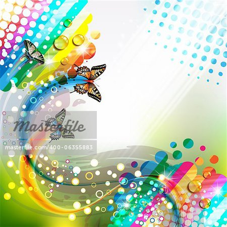 Colorful abstract background with butterflies Stock Photo - Budget Royalty-Free, Image code: 400-06355883
