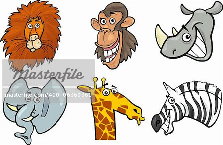 Cartoon Illustration of Different Funny Wild Animals Heads Set: Lion, Chimp, Rhino, Elephant, Giraffe and Zebra Stock Photo - Budget Royalty-Free, Image code: 400-06360361