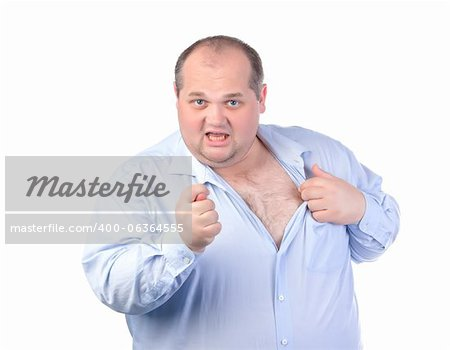 Fat Man in a Blue Shirt, Showing Obscene Gestures, isolated Stock Photo - Budget Royalty-Free, Image code: 400-06364555