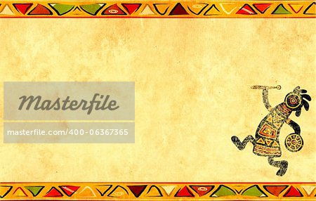 Dancing musician. Grunge background with African traditional patterns Stock Photo - Budget Royalty-Free, Image code: 400-06367365