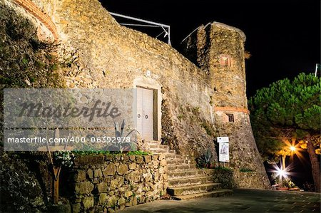 Illuminated Castle of Riomaggiore at Night, Cinque Terre, Italy Stock Photo - Budget Royalty-Free, Image code: 400-06392978