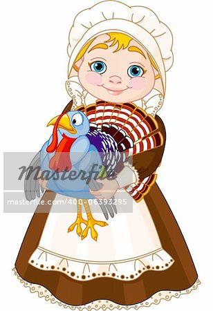 Illustration of cute Pilgrim lady with  turkey Stock Photo - Budget Royalty-Free, Image code: 400-06393295