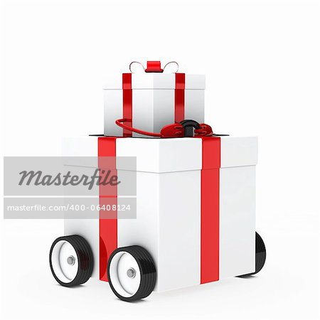red white christmas gift box figure vehicle Stock Photo - Budget Royalty-Free, Image code: 400-06408124