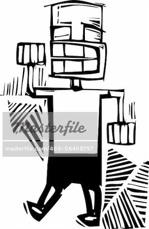 Woodcut style man raising his right fist in a fist bump. Stock Photo - Budget Royalty-Free, Image code: 400-06408797