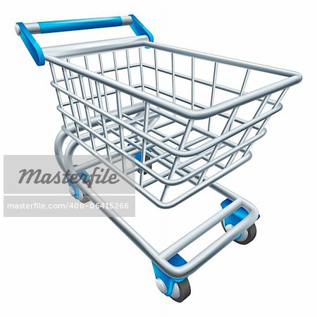 An illustration of a wire supermarket shopping cart trolley or basket Stock Photo - Budget Royalty-Free, Image code: 400-06415266