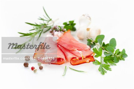 Traditional prosciutto with herbs and spicy Stock Photo - Budget Royalty-Free, Image code: 400-06416336