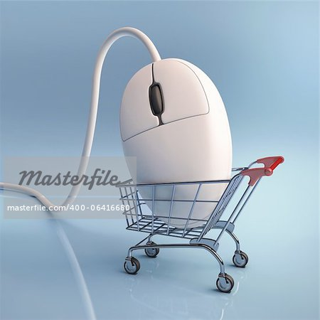 Mouse in the shopping cart. Concept of internet shopping. Stock Photo - Budget Royalty-Free, Image code: 400-06416680