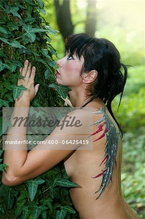 Young woman with painted wings on her back in the forest Stock Photo - Budget Royalty-Free, Image code: 400-06425419