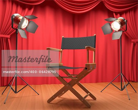 Director's chair on the stage illuminated by floodlights. Stock Photo - Budget Royalty-Free, Image code: 400-06428795
