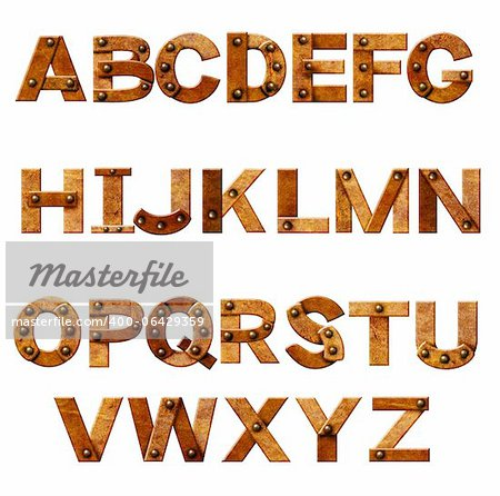 Alphabet - letters from rusty metal with rivets. Isolated over white Stock Photo - Budget Royalty-Free, Image code: 400-06429359