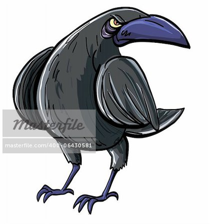 Cartoon of evil black crow. Isolated on white Stock Photo - Budget Royalty-Free, Image code: 400-06430581
