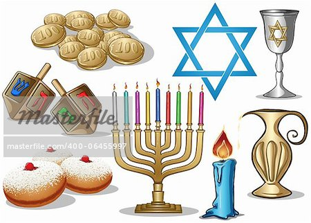 A pack of Vector illustrations of famous symbols for the Jewish Holiday Hanukkah. Stock Photo - Budget Royalty-Free, Image code: 400-06455997
