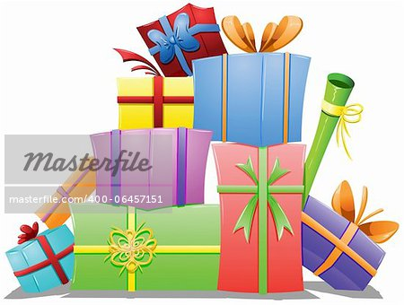 A vector illustration of a pile of gift boxes wrapped for the holidays. Stock Photo - Budget Royalty-Free, Image code: 400-06457151