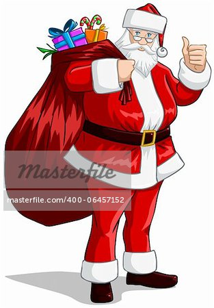 A vector illustration of Santa Claus holding a huge bag full of presents for Christmas. Stock Photo - Budget Royalty-Free, Image code: 400-06457152