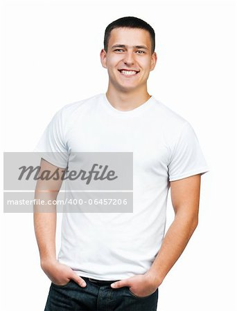 white t-shirt on a young man isolated Stock Photo - Budget Royalty-Free, Image code: 400-06457206