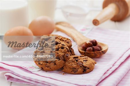 Christmas cookies with glass of milk and baking ingredients Stock Photo - Budget Royalty-Free, Image code: 400-06457280