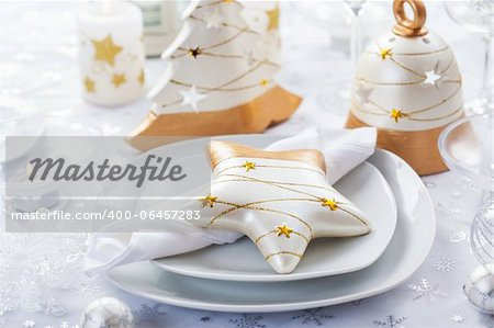 Festive table for Christmas in white and golden tones Stock Photo - Budget Royalty-Free, Image code: 400-06457283