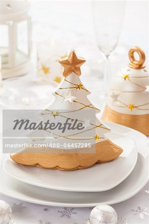 Festive table for Christmas in white and golden tones Stock Photo - Budget Royalty-Free, Image code: 400-06457285
