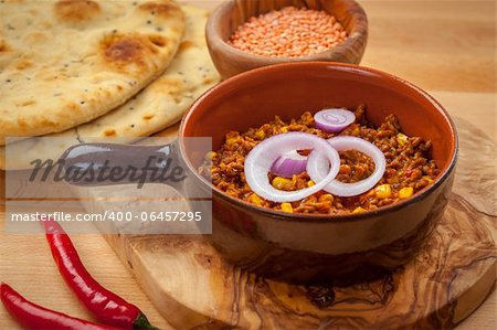 Mexican chilli con carne with red lentils and flatbread Stock Photo - Budget Royalty-Free, Image code: 400-06457295