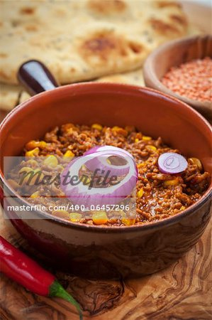 Mexican chilli con carne with red lentils and flatbread Stock Photo - Budget Royalty-Free, Image code: 400-06457296