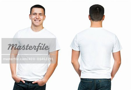 White t-shirt on a young man isolated, front and back Stock Photo - Budget Royalty-Free, Image code: 400-06462291