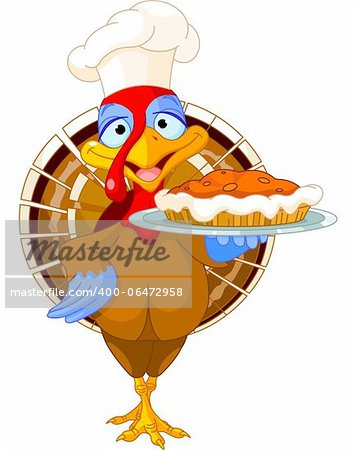 Thanksgiving turkey serving pumpkin pie Stock Photo - Budget Royalty-Free, Image code: 400-06472958