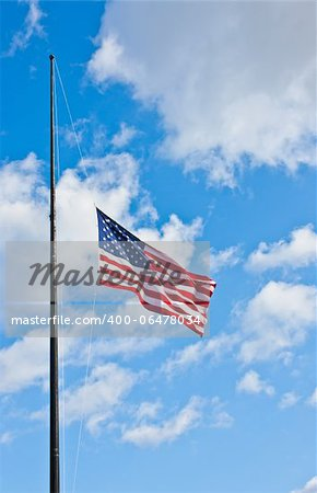 American flag on a blue sky during a windy day Stock Photo - Budget Royalty-Free, Image code: 400-06478034