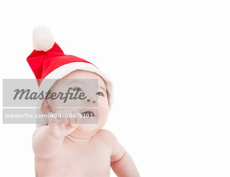 happy asian baby with christmas hat Stock Photo - Budget Royalty-Free, Image code: 400-06478101