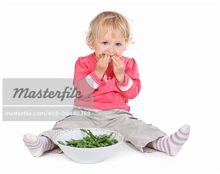 small girl eating grean peas on white background Stock Photo - Budget Royalty-Free, Image code: 400-06480358