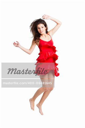 Beautiful woman with a red dress dancing and jumping, isolated on white Stock Photo - Budget Royalty-Free, Image code: 400-06481645