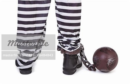 prisoner's legs and ball and chain on white, view from behind Stock Photo - Budget Royalty-Free, Image code: 400-06484843