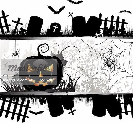 Halloween card design with pumpkin and ghost house Stock Photo - Budget Royalty-Free, Image code: 400-06513202