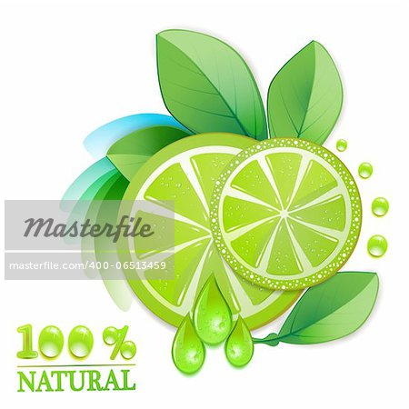 Slice of lime with leafs and percentage quality Stock Photo - Budget Royalty-Free, Image code: 400-06513459