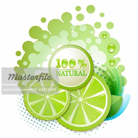 Slice of lime with percentage quality Stock Photo - Budget Royalty-Free, Image code: 400-06513460