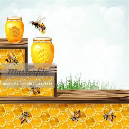 Landscape frame with glass jar bees and honeycombs Stock Photo - Budget Royalty-Free, Image code: 400-06513533