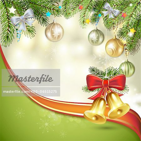 Christmas bells with pine tree Stock Photo - Budget Royalty-Free, Image code: 400-06515275