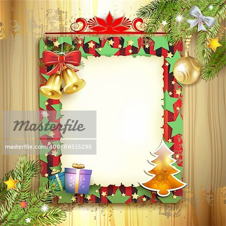 Christmas card with bell and old paper Stock Photo - Budget Royalty-Free, Image code: 400-06515295