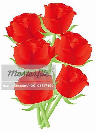 Red Roses Flower Bouquet for Valentines Day Anniversary or Special Occasion Illustration Isolated on White Background Stock Photo - Budget Royalty-Free, Image code: 400-06517450