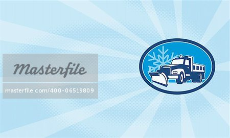 Illustration of a snow plow truck plowing with winter snow flakes in background set inside circle done in retro style. Stock Photo - Budget Royalty-Free, Image code: 400-06519809